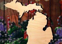Potongan Kayu Berbentuk Michigan Dengan Latar Belakang Kasino