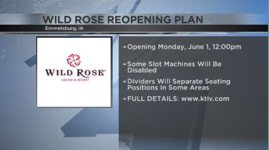 Kasino Wild Rose akan dibuka kembali 1 Juni